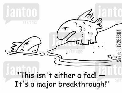 biologists cartoon humor: 'This isn't either a fad! -- It's a major breakthrough!'