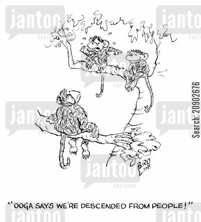 human beings cartoon humor: 'Ooga says we're descended from people!'