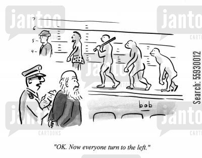 line-up cartoon humor: Darwin view a police line up of the human race