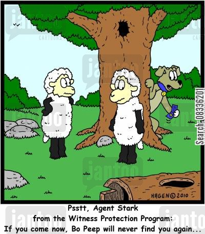 peep cartoon humor: 'Psstt, Agent Stark from the Witness Protection Program: If you come now, Bo Peep will never find you again...'