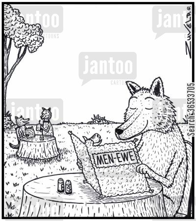 food chains cartoon humor: Men-Ewe