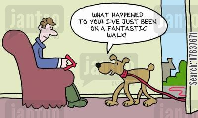 ramble cartoon humor: 'What happened to you? I've been on a fantastic walk.'