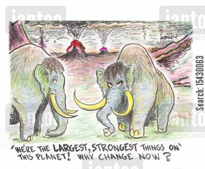 endangered animals cartoon humor: 'We're the largest, strongest things on this planet! Why change now?'