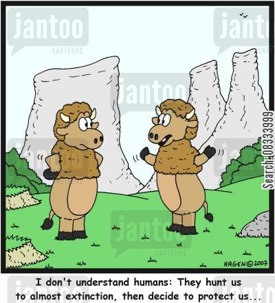 human beings cartoon humor: 'I don't understand humans: They hunt us to almost extinction, then decide to protect us...'