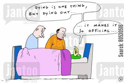 endangered animals cartoon humor: 'Dying is one thing, but dying out... It makes it so official...'