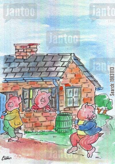 puffing cartoon humor: The three pigs...House of bricks.