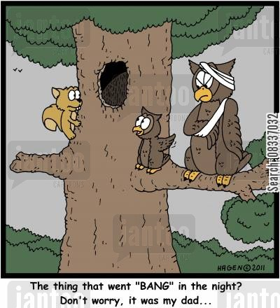 nightime cartoon humor: 'The thing that went 'BANG' in the night? Don't worry, it was my dad...'