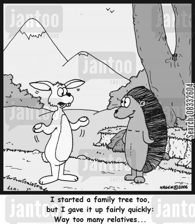 multiplying cartoon humor: 'I started a family tree too, but I gave it up fairly quickly: Way too many relatives...'
