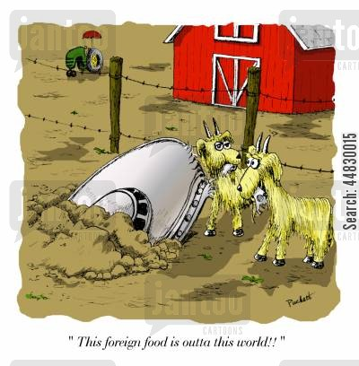 goats cartoon humor: 'This foreign food is outta this world!!'