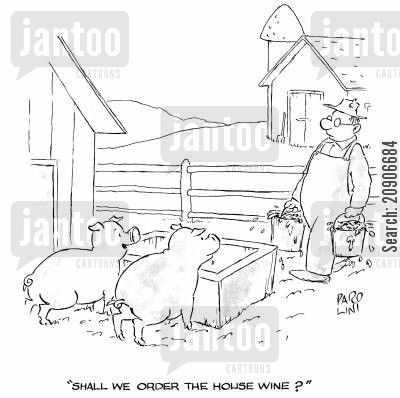 feeing cartoon humor: 'Shall we order the house wine?'