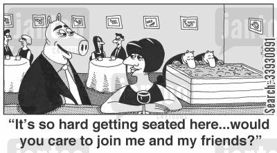 troughs cartoon humor: 'It's so hard getting seated here... would you care to join me and my friends?'
