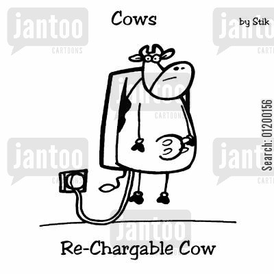 akku cartoon humor: COWS: Re-Chargable Cow