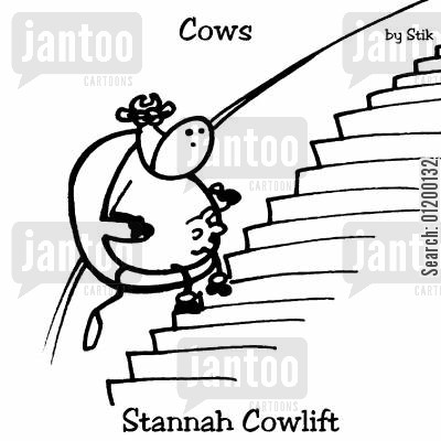 stair lift cartoon humor: COWS: Stannah Cowlift