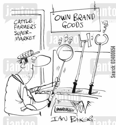 branding cartoon humor: Cattle farmer's super-market