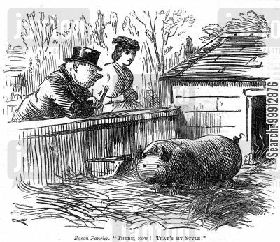 sty cartoon humor: Man who resembles pig