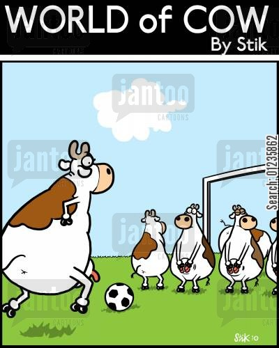 sports teams cartoon humor: Cow Free Kick.