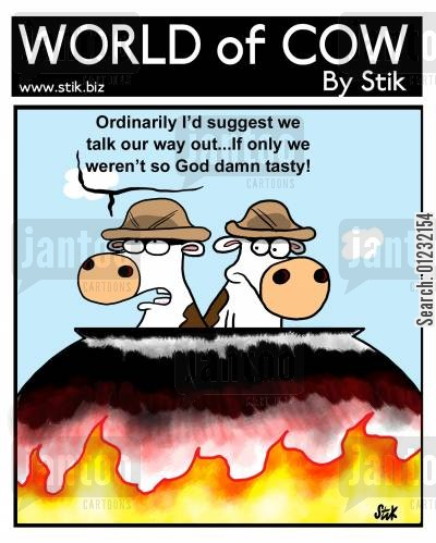 talking your way out cartoon humor: Ordinarily I'd suggest we'd talk our way out...If only we weren't so God damn tasty!