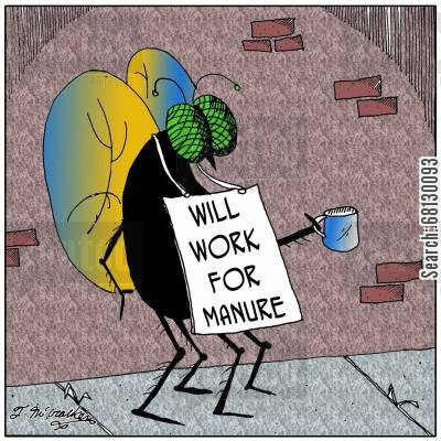 organic farming cartoon humor: Will work for manure.