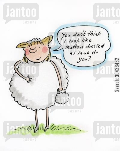 sheep costume cartoon humor: You don't think I look like mutton dressed as lamb do you?