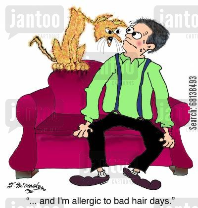 mens hair cartoon humor: ' ... and I'm allergic to bad hair days.'