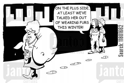 fashion victims cartoon humor: ...At least we've talked out of wearing furs this winter!