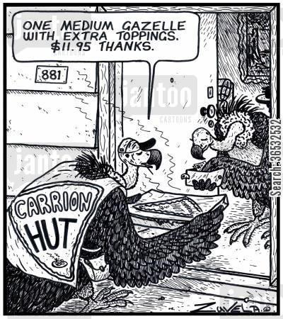 pizza topping cartoon humor:  'One medium Gazelle with extra toppings.$11.95 thanks.'