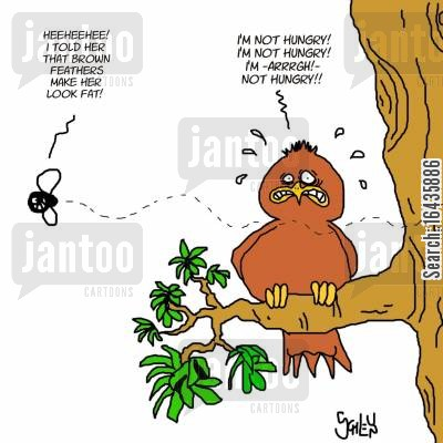 starve yourself cartoon humor: 'Heeheehee! I told her that brown feathers make her look fat!'