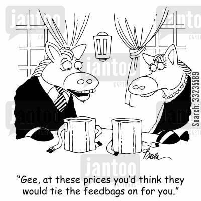 horse feed cartoon humor: 'Gee, at these prices you'd think they would tie the feedbags on for you.'