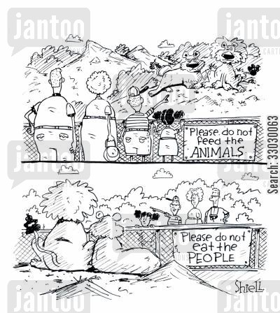 getting eaten cartoon humor: Please do not feed the animalsPlease do not eat the people.