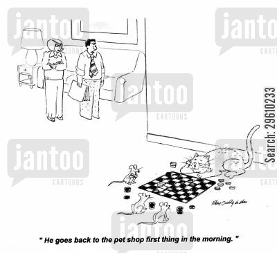 chequers cartoon humor: 'He goes back to the pet shop first thing in the morning.'