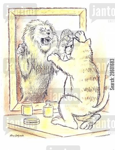 pretending cartoon humor: Cat with Lion reflection in mirror