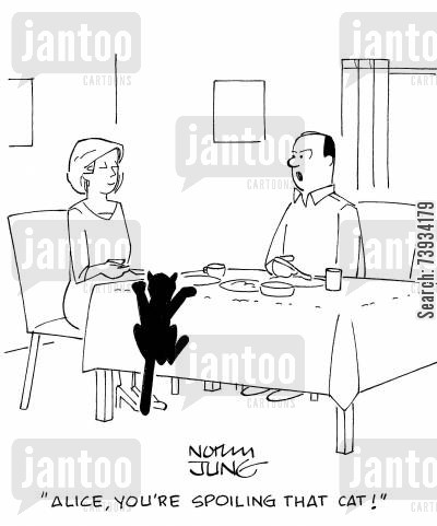 dinner table cartoon humor: 'Alice, you're spoiling that cat!'