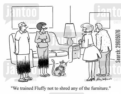 furniture cartoon humor: 'We trained Fluffy not to shred any of the furniture.'
