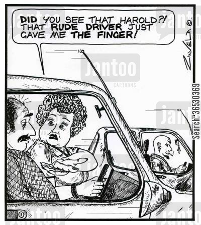 flipping the bird cartoon humor: 'Did you see that Harold?! That rude driver just gave me the Finger!'