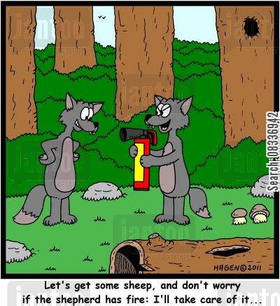 fire extinguishers cartoon humor: 'Let's get some sheep, and don't worry if the shepherd has fire: I'll take care of it...'