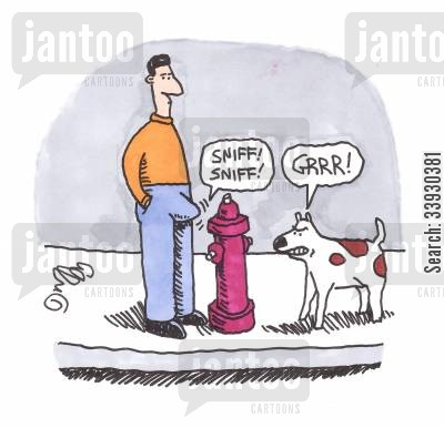 sniff cartoon humor: Penis Sniffing Fire Hydrant