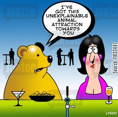 animal attraction cartoon humor: I've got an unexplained animal magnetism towards you.