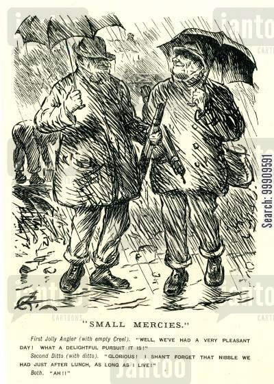 fished cartoon humor: Two Men Angler's In A Storm.