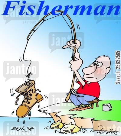 old boot cartoon humor: Fisherman.