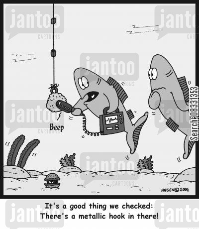 seabed cartoon humor: It's a good thing we checked: There's a metallic hook in there!