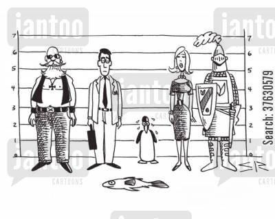 criminal cartoon humor: The Penguin Did It.