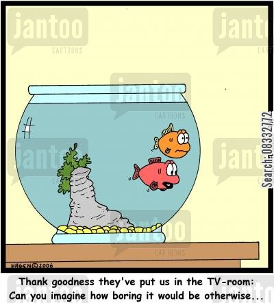 tv room cartoon humor: 'Thank goodness they've put us in the TV-room: Can you imagine how boring it would be otherwise...'