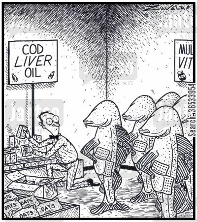 process cartoon humor: Cod Liver Oil: A group of angry Atlantic Cods have finally found the person who has the remains of their former Livers being sold as a Health product.