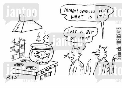 fish soups cartoon humor: 'Mmmm smells nice! What is it?' 'Just a bit of soup.'