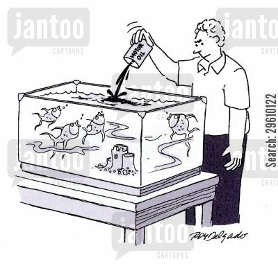 crude oil cartoon humor: Pouring oil into the fish tank.