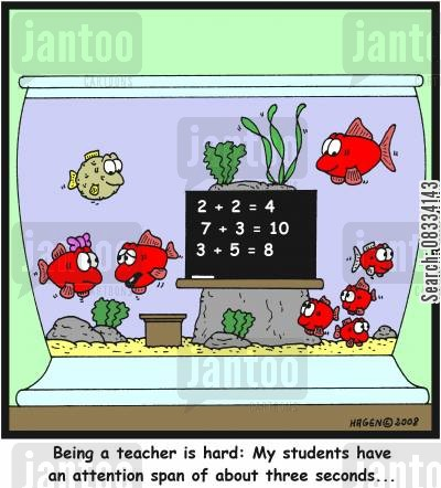 squariums cartoon humor: 'Being a teacher is hard: My students have an attention span of about three seconds...'