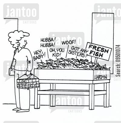 spoken cartoon humor: Fresh fish