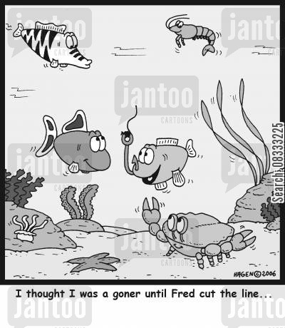 near death experiences cartoon humor: 'I thought I was a goner until Fred cut the line...'
