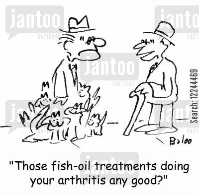 cat owners cartoon humor: 'Those fish-oil treatments doing your arthritis any good?'
