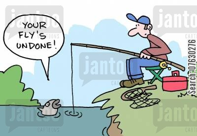 flying low cartoon humor: Fly fishing - Your fly's undone!